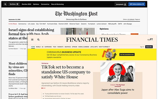 The Washington Post Financial Times Create Joint Digital Subscription 09 16 2020