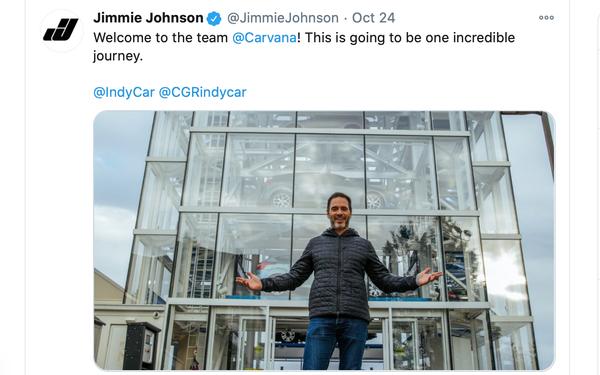 Carvana Partners With Race Car Driver Jimmie Johnson