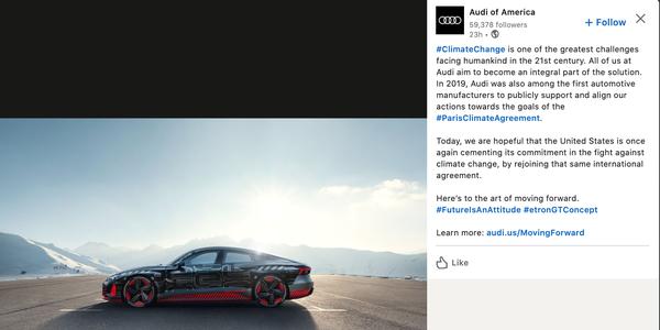 Audi Celebrates U.S. Return To Paris Agreement