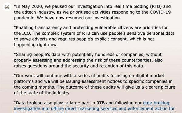 UK Information Commissioner's Office Resumes Investigation On Real-Time Bidding