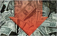 Arrow-dowm-on-money