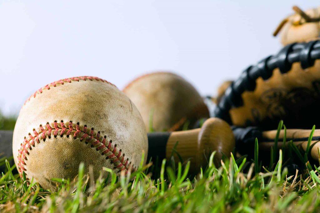 baseball, bat, and glove