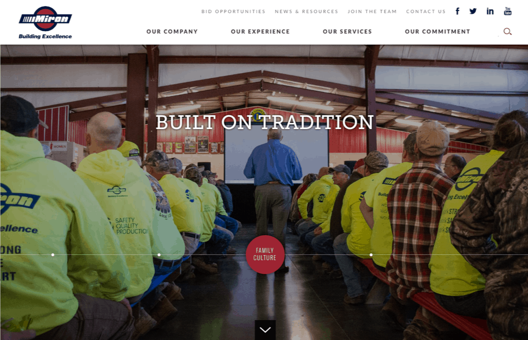 Miron Construction launches redesigned corporate website