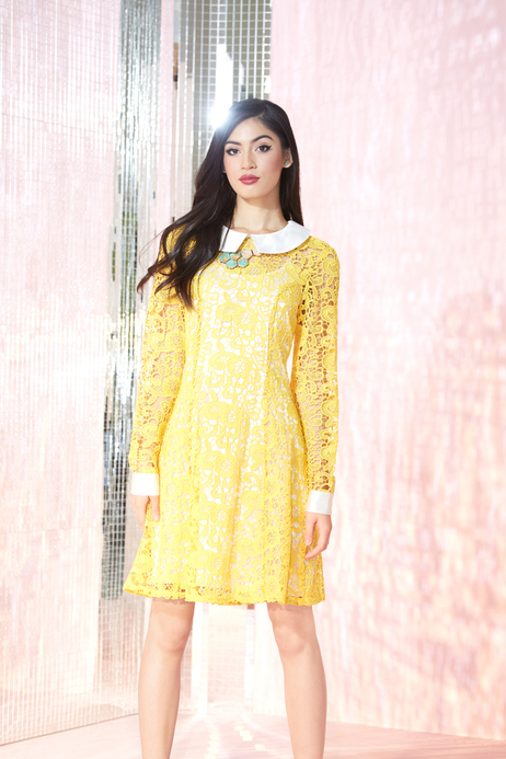 Yellow lace dresses with sleeves