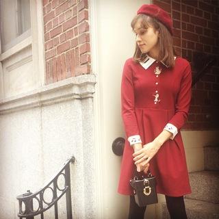Miss Patina Musical Ma Am Pleated Long Sleeve Dress Modcloth