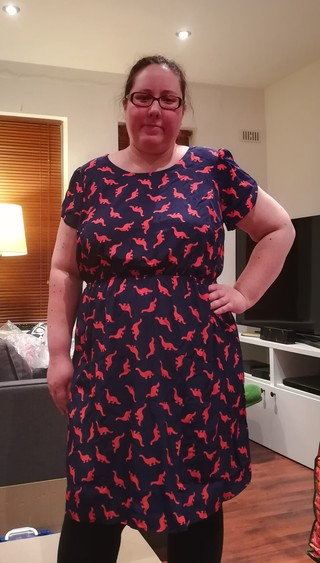 Oh My Gosh A Line Dress In Navy Dinos Modcloth