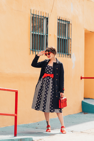83cf4a4d4b7 ModCloth Celebrated Style Fit and Flare Dress Navy On Model  See it IRL ...