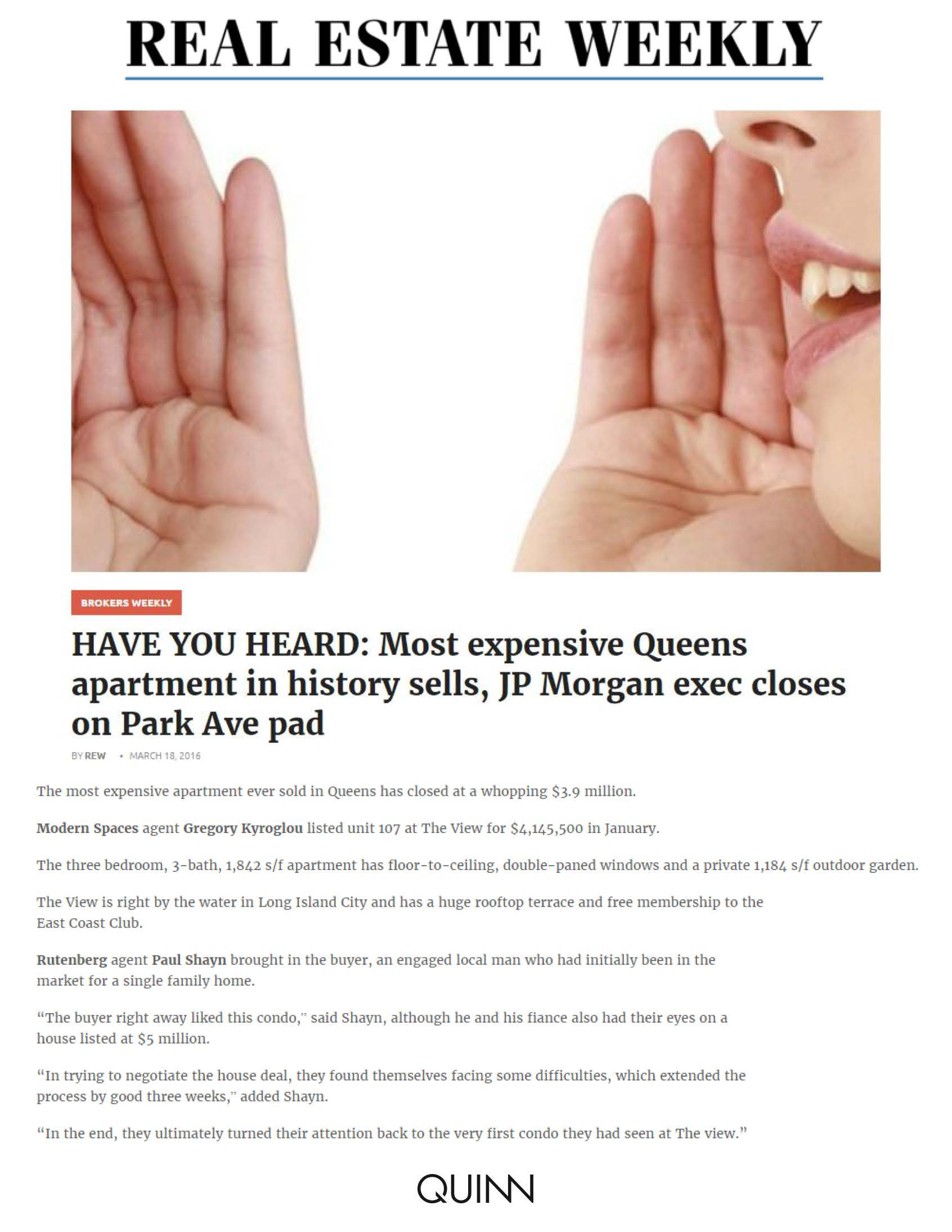 Real Estate Weekly - HAVE YOU HEARD Most expensive Queens apartment in h... (2)