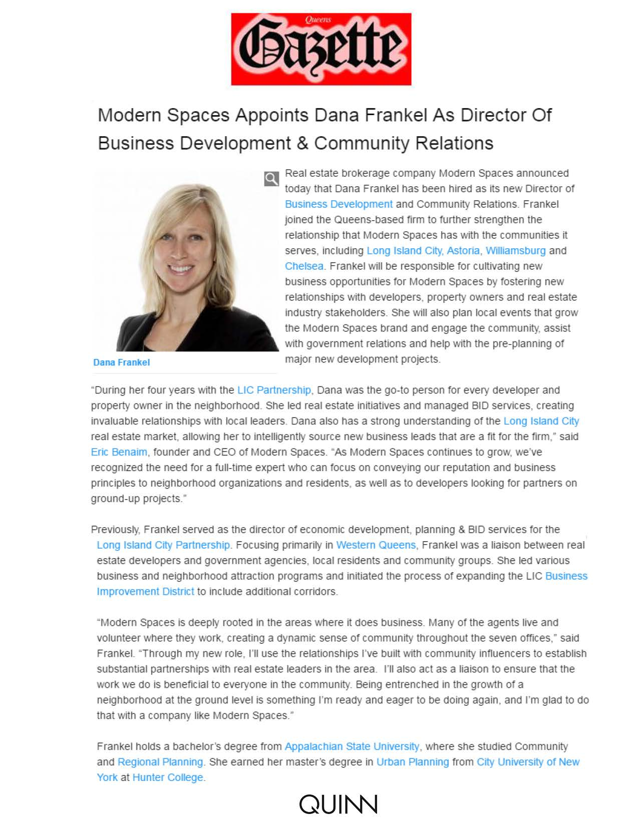 Queens Gazette - Modern Spaces Appoints Dana Frankel As Director Of Business Development & Community Relations - 04.13.16
