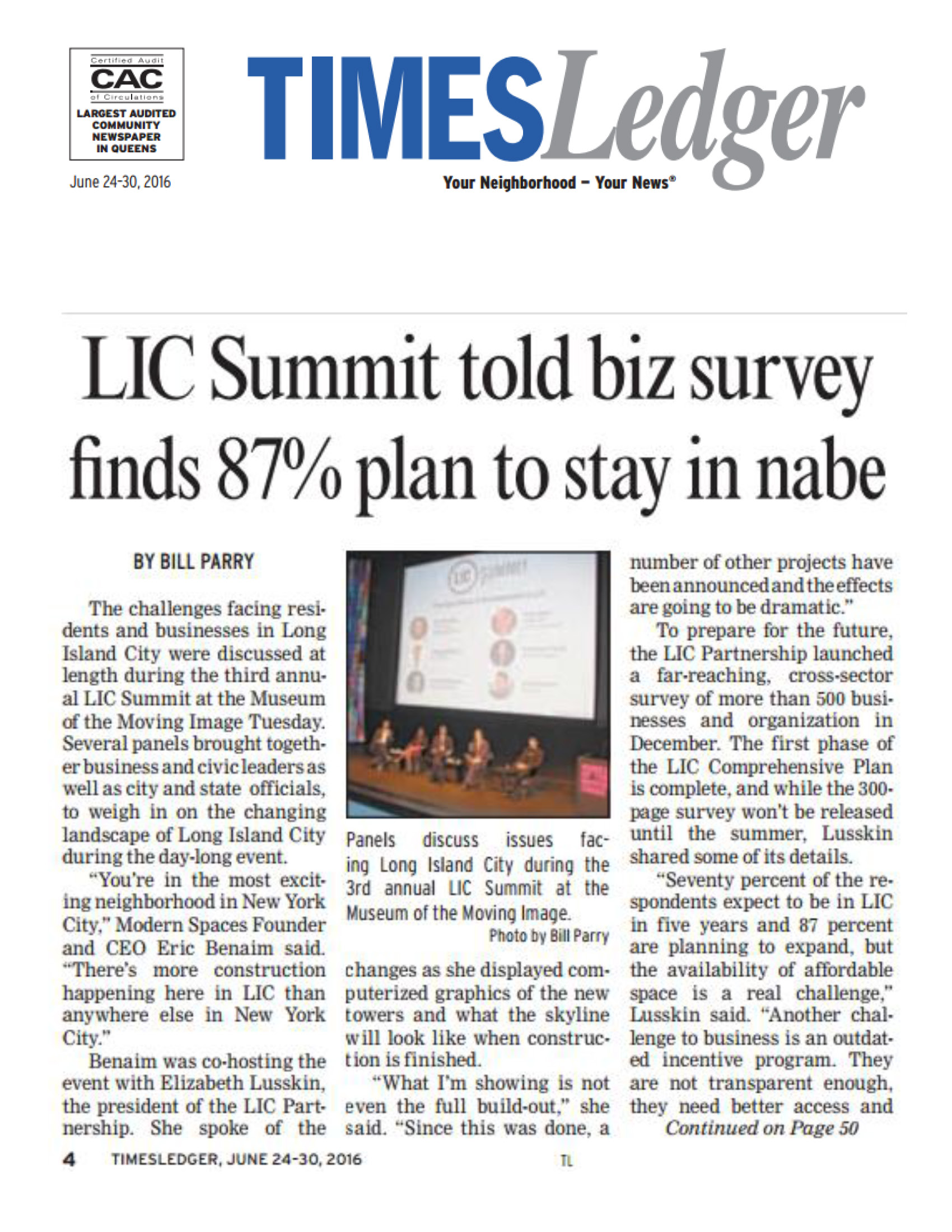 TimesLedger - LIC Summit told biz survey finds 87% plan to stay in nabe - 6.24_Page_1