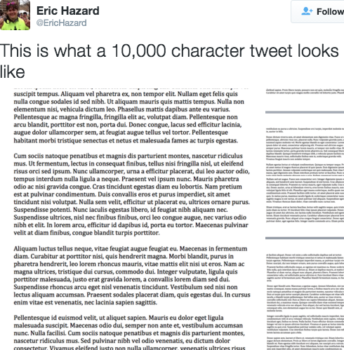 10,000 character tweets: this is why we can't have nice things