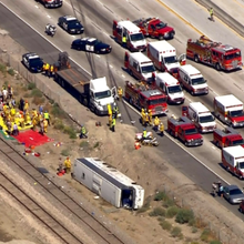 Charter bus overturns on L.A.-area highway; 46 injured