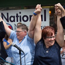 Tears, Laughter, and Triumph for a Lesbian Couple in the Supreme Court's Gay Marriage Case