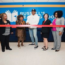NBA MVP Russell Westbrook Opens Up His 30th Russell's Reading Room At Thelma Parks Elementary Sch...