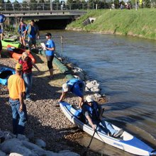 Kayakers celebrate opening of 2.3-mile Kearney Water Trail