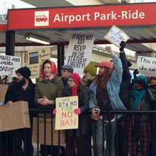 Protesters rally at Atlanta airport against Trump's 'Muslim ban'