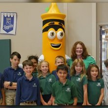 Crayola's retiring 'Dan D' Dandelion makes surprise visit to Episcopal Collegiate