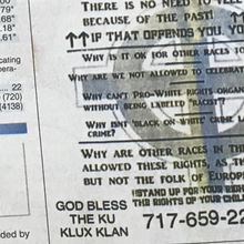Pennsylvania newspaper prints white pride flyers that say 'God bless the Ku Klux Klan'
