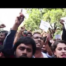 Students Raise Slogans Against ABVP At Delhi's Ramjas College