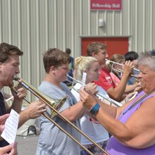 Hoover band marches on after flood