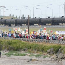Fossil fuel protesters block rail tracks near Anacortes, Washington