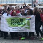 FA hailed as LGBT fans from Pride In Football group attend England games