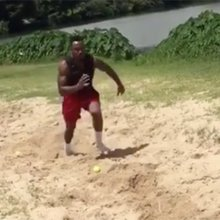 WATCH: Falcons Duke Riley, Robert Alford perform some crazy training drills in sand