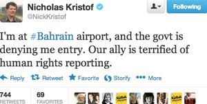 Nick Kristof live-tweets his Bahrain visa crisis