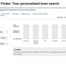 Dreamtown Finder: Massachusetts town search calculator