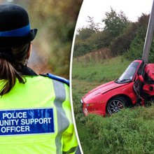 SHOCK IMAGE: Driver has miracle escape after smashing his sports car into lamp post