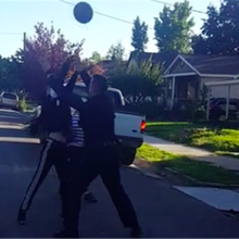 VIDEO: Ogden kids playing basketball get surprised by police officer