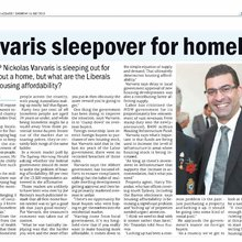 Varvaris sleeps out for homeless