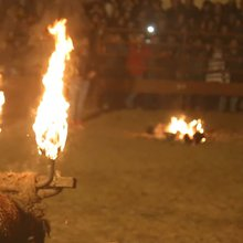 Animal-rights activists protest the flaming bull tradition in Spain