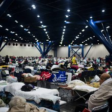 Harvey drives tens of thousands to Texas shelters, where all people can do is wait