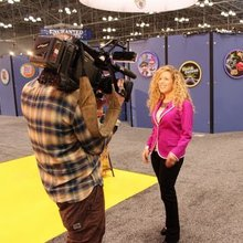 Sharon Vinderine at Toy Fair 2013 for HLN's Raising America