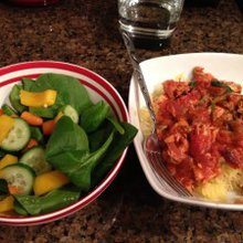 Rosemary, Spinach, Mushroom and Chicken Pasta Sauce with Spaghetti Squash Spaghetti - Feed Me Dal...