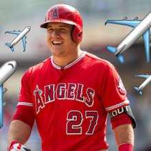 Mike Trout's stats based on airplane emoji use