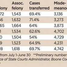 While fewer misdemeanor cases are filed, more felonies are going to circuit court