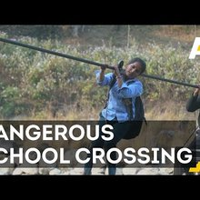 Nepali Children Cable Across Rivers To Get To School