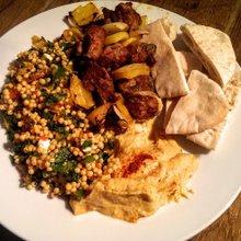 Lamb kebabs, Cous cous salad and Hummus