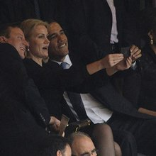 Barack Obama and David Cameron pose for selfie with Danish PM