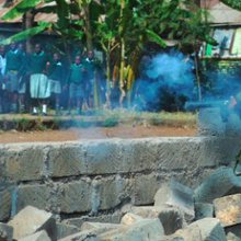 Tear gas hits children in playground protest