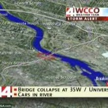 WCCO 35w Bridge First report of collapse