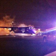 Flybe flight catches fire forced to make emergency landing - Police Hour