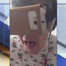 Grandma tries out virtual reality game given to her by grandkids | FUN VIDEO