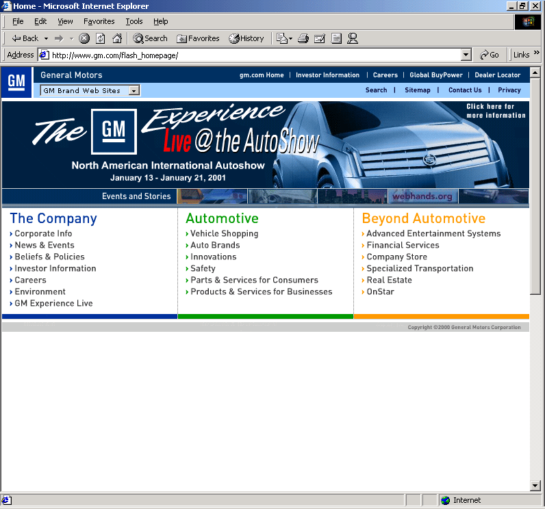 General Motors homepage in 2001
