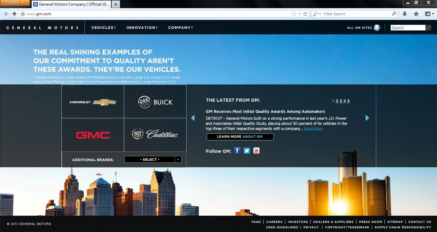 General Motors homepage in 2013