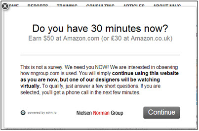 Ethnio screener page 1: Do you have 30 minutes now? Earn $50 at Amazon.com.