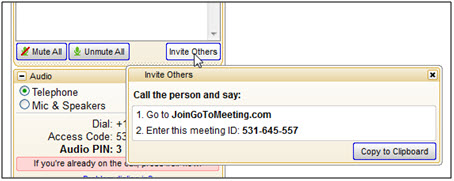 GTM invite others dialog: 1. Go to JoinGoToMeeting.com 2. Enter this meeting ID: 531-645-557