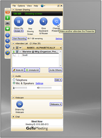 GTM dialog with mouse hovering over change presenter button